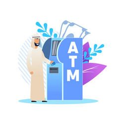 Man in arab clothing at an atm cartoon flat vector