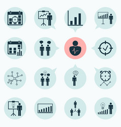 management icons set with time management vector image