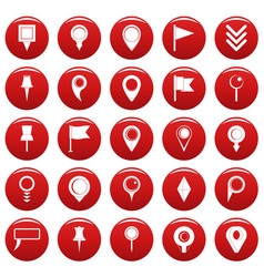 map pointer icons set vetor red vector image