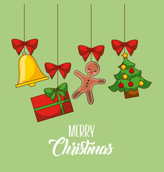 merry christmas card gingerman gift tree bell vector image