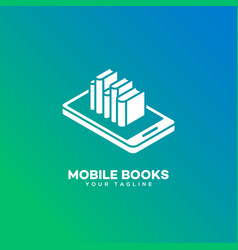Mobile books logo vector