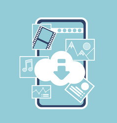 mobile online cloud synchronization application vector image