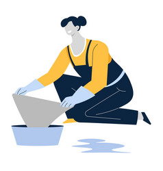 mopping or wiping floor housewife or cleaning vector image