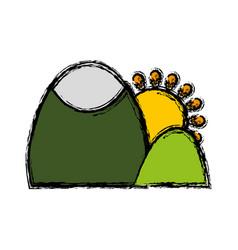 Mountain with sun icon vector