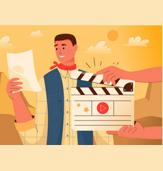 movie making actor reads script hands holding vector image