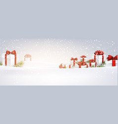 New year banner with gifts vector