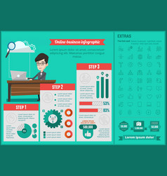 online-business infographic template vector image