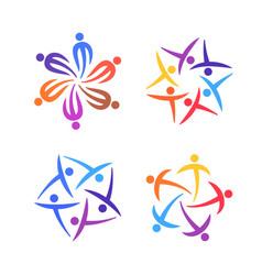 people creative logo set community team family vector image