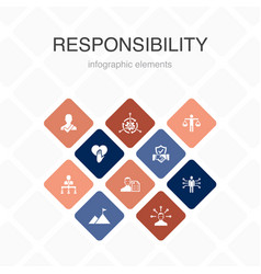 Responsibility infographic 10 option color design vector