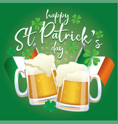 Saint patricks day celebration design with beers vector