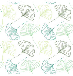 Seamless pattern with ginkgo biloba leaves vector