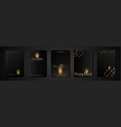 set cards happy diwali indian lights festival vector image
