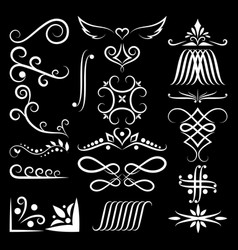 set collections vintage ornament sharp line vector image
