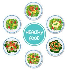 Set healthy salad vector