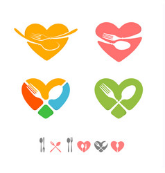 set logos for catering business vector image