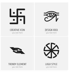 set of 4 editable religion icons includes symbols vector image