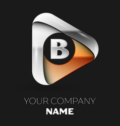 silver letter b logo in golden-silver triangle vector image