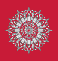 simple silver circular pattern on red background vector image