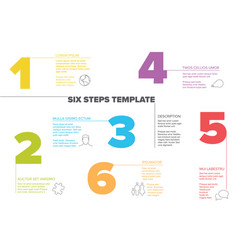 Six steps progress template with nice typography vector image on VectorStock