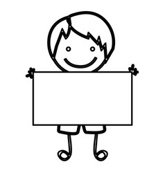 Sketch silhouette front view boy with straight vector