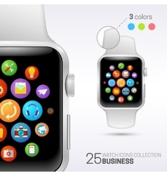 Smart watch with white wristband vector