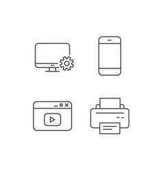 Smartphone printer and browser window icons vector