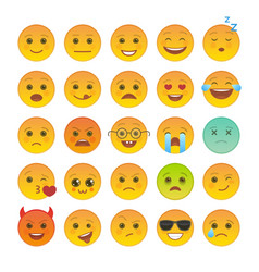 smiley face with facial expression set vector image