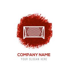 Soccer goal icon - red watercolor circle splash vector