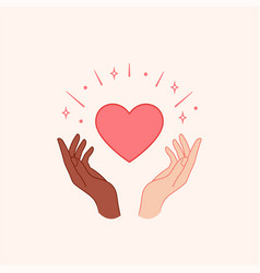 stop racism hands holding red heart vector image