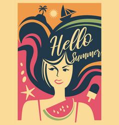 summer girl web banner vector image