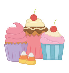 Sweet and delicious muffins design vector