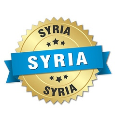 Syria round golden badge with blue ribbon vector