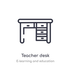 Teacher desk outline icon isolated line from vector