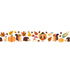Thanksgiving animals kids border seamless vector