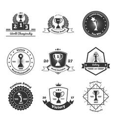 Trophy awards emblems set vector