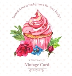 Vintage invitation card watercolor cupcakes and vector image