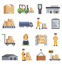 Warehouse Flat Icons Set vector