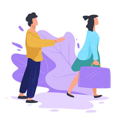 Wife leaving husband alone breakup and separation vector