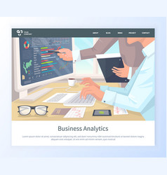 woman working on analysis info screen with data vector image
