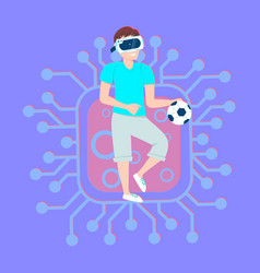 young man in 3d virtual reality glasses play vector image