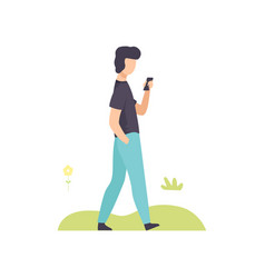 young man walking with smartphone in park guy vector image