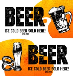 Banners of Oktoberfest beer design Hand drawn vector image vector image