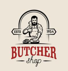 butchery butcher design element for logo label vector image