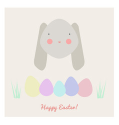 easter with rabbit and eggs vector image