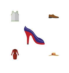 Flat dress set of heeled shoe elegant headgear vector