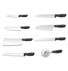 realistic knives icon set vector image