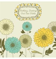 Retro Sunflower Birthday Card vector image vector image