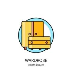 Wardrobe wood furniture logotype design templates vector
