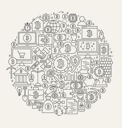 bitcoin line icons circle vector image