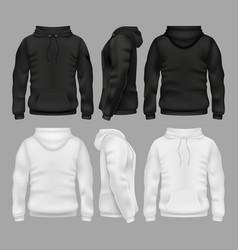 black and white blank sweatshirt hoodie vector image